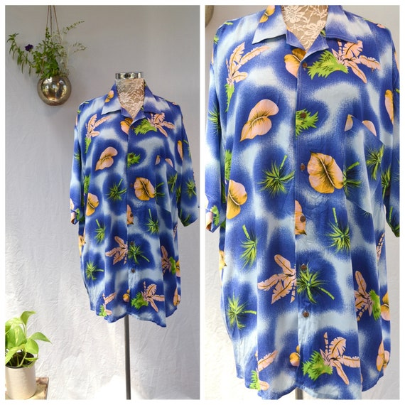 Unisex Boyfriend Royal Blue Rayon Shirt - Baggy Hawaiian Mens XLarge Loose Fit - 1980's Like New