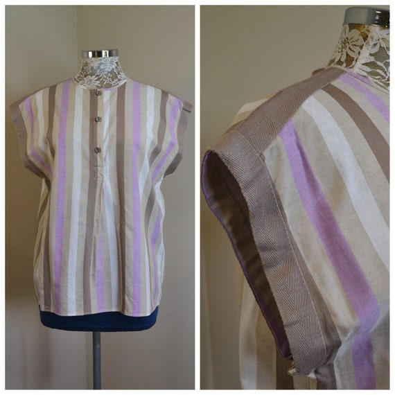 1980s Adorable Lavender Beige Vertical Stripe Sleeveless Boxy Summer Top - Like New Never Worn - 100% Cotton - Medium AUS 14 - 16