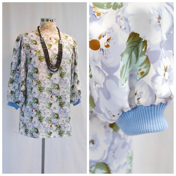 Silky Long Tunic Blouse - Gathered Shoulders, Batwing Sleeves, Stretch Knit Cuffs - Periwinkle & Mint Floral - MED - Large