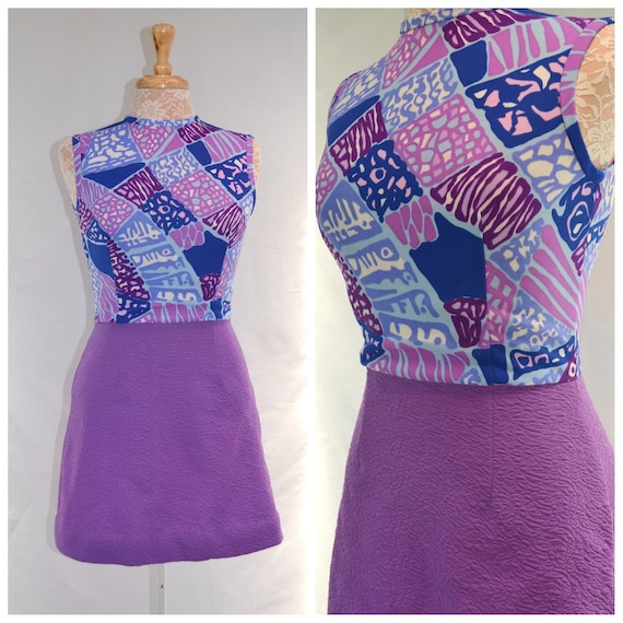 1960's Purple Mod Party Mini Dress -  Royal Blue, Bright Purple - Excellent Condition - Too Sexy!  Sz Small