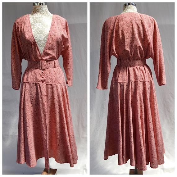 1990's Burgundy Mini Floral Sun Dress by Wallis - Open Front Skirt - Lovely Wrap Front Buttons & Belt - Made in England - Sz AUS 14