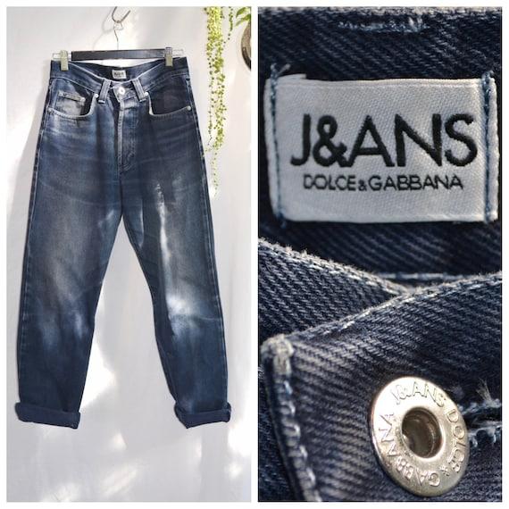 """90's Dolce & Gabbana Midnight Blue High Waist Boyfriend Jeans - Thick Soft Naturally Distressed, Aged Denim - Unisex 28"""" Waist"""