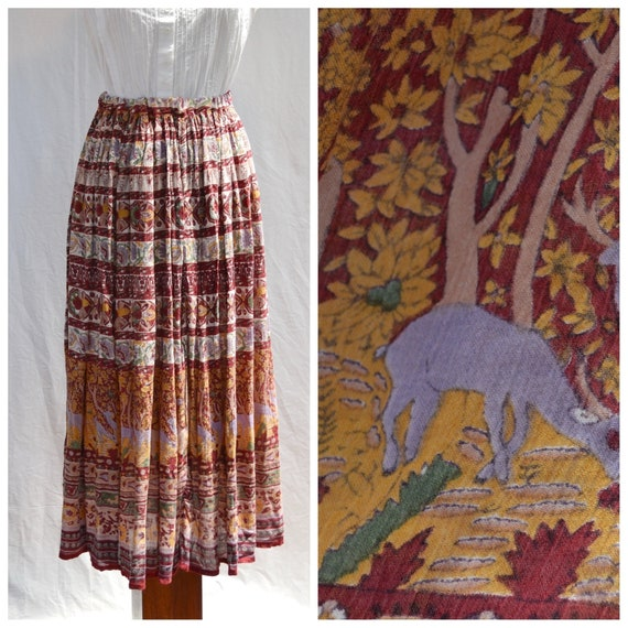 Vintage Hippie Boho Indian Peasant Skirt - Semi-Sheer Soft Cotton - Elastic Waist - 90's Grunge Maxi - Burgundy, Mustard, Sage - Small, Med