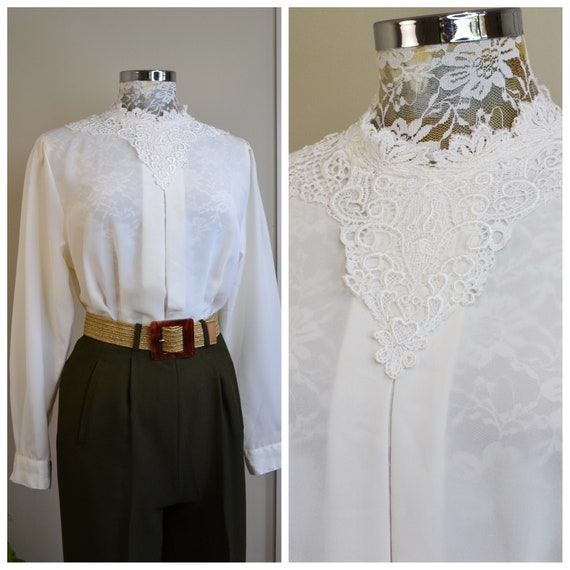 Lovely 90's Victorian Blouse in Cream Silky Viscose - Lace Collar, Roomy Bust, Cinched at Waist - Vintage Teacher Mom - Medium AUS 12 - 14
