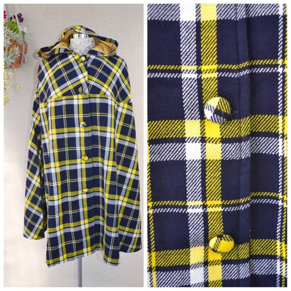 Pristine Mid-century Handmade Wool Cape in Navy & Canary Yellow Plaid - Vintage Hooded Cape, Gold Lining, Covered Buttons - One Size