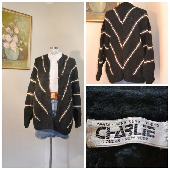 80's Designer Chevron Stripe Heavy Wool Cardigan - Chunky Oversize Loose Fit - Batwing Sleeves - AMAZING* - One Size