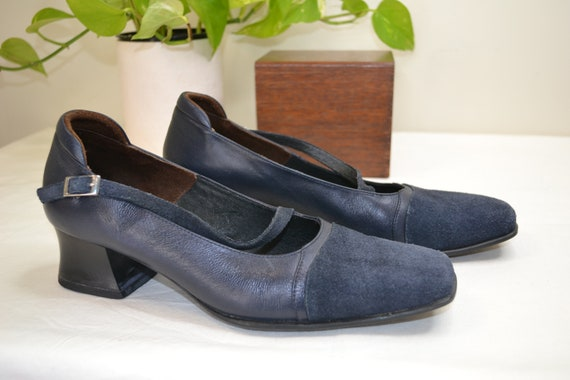 Cute 90's Navy Suede Mary Jane's - Nerdy Granny Slip on Dress 4 cm Heels by Klouds Comfort Shoes - US 9.5