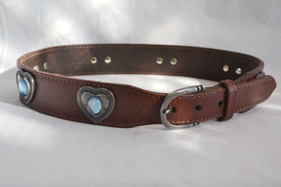 "Super Thick Brown Leather Belt by JAG - Southwestern Style w/ Pewter Hearts - Heavy Duty Great Quality - 27"" - 29"" Waist"