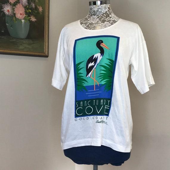 Sanctuary Cove Gold Coast Vintage T Shirt - Pure White 100% Cotton - 90's Made in Australia-  Womens Medium - One Size