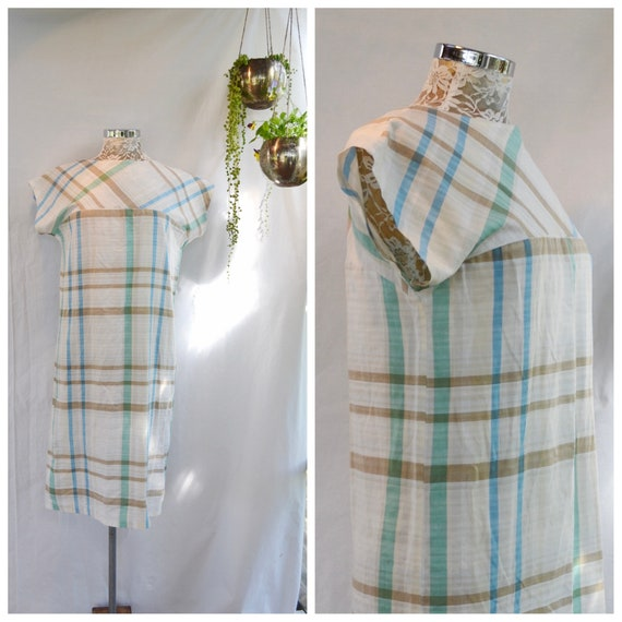 Mod 60's Pastel Plaid Shift Dress - Soft Summer Cotton in Blue, Green & Beige on Off White - Simple Minimal Lightweight Sundress - Medium