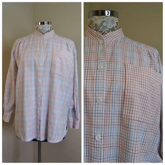 Cute Granny Preppy Collarless Button Up Shirt - Red & Blue Plaid on White Crisp Woven Cotton.