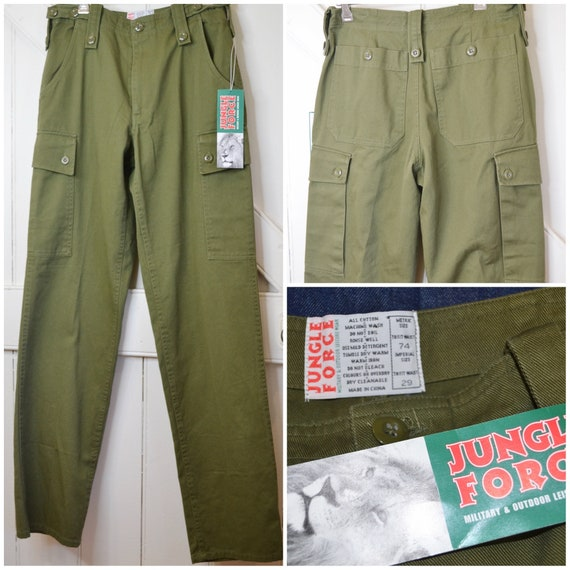 """Deadstock Military Trousers - Army Green Canvas Uniform Pants - 29"""" Waist"""