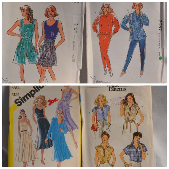 LOT of 4 Vintage Dress Patterns 1980's, 1990's