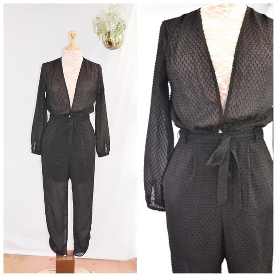 "Amazing Sheer Black Jumpsuit - Vintage 1980's Sophisticated Romper Onesie - Halloween Costume - Disco Dancer -  25"" Waist Size Sm"