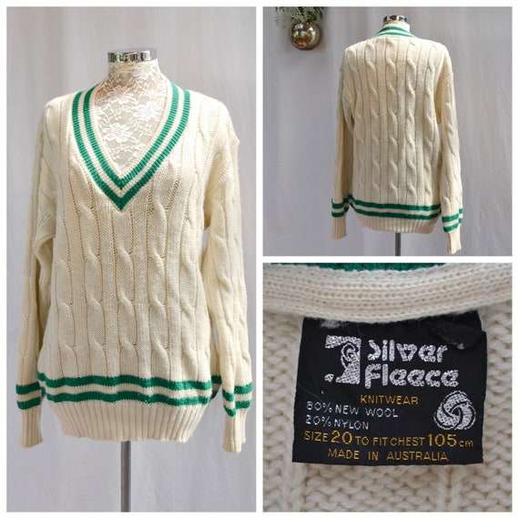 60's MOD PREPPY Cream Cable Knit w/ Kelly Green Trim - 80% Wool Grandpa Baggy Pullover V Neck Unisex - Large or XL
