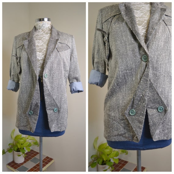 80's does 40's Herringbone Tweed Jacket in Black White & Blue Lining - Tailored Blazer, Vintage Buttons, Striking Details - Small