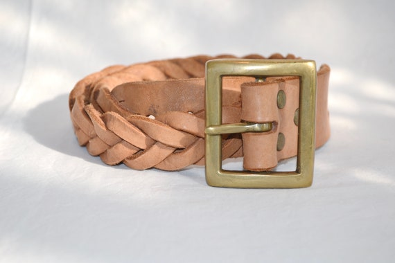 """Super Thick Braided Leather Belt in Soft Caramel Colour - Heavy Square Brass Buckle - Unisex 32"""" Waist"""