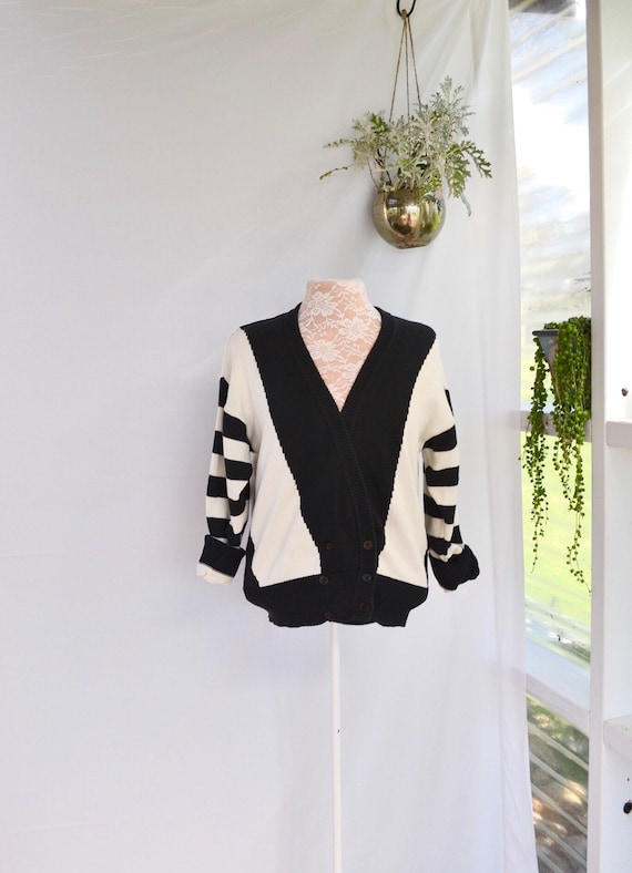Sporty 80's Black & White Cardi - Soft Cotton Baggy Double Breasted Tomboy - Medium