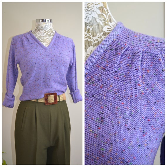 Precious 1970's Lavender Fleck Knit Pullover Jumper - Snug Fit, V Neck w/ Gathered Shoulders. Wool Acrylic Blend. Stunning Violet - Small