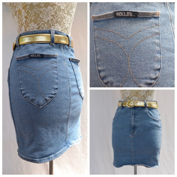 "Rolla's Stretch Denim Skirt - High Rise Mini - Cute Snug Fit - Faded Blue Cotton Denim - 27"" Waist - AUS 12 - US 8"