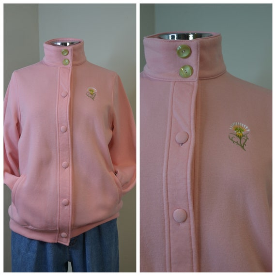 Bubble Gum Pink Granny Sweatshirt - Loose Fit 80's Cardigan Hoodie Super Soft - Contrast Buttons & Flower Patch - Small - Med