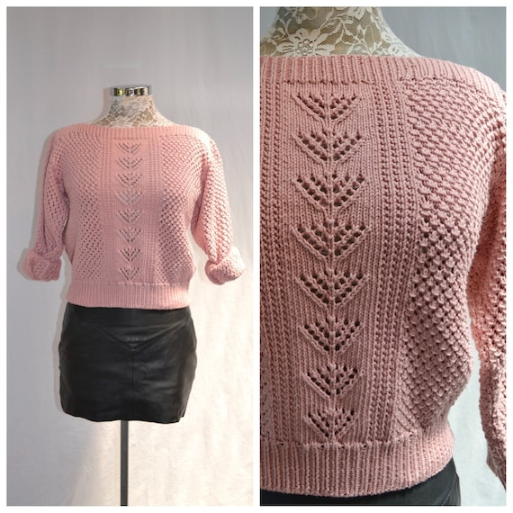 Cotton Hand Knit Soft Cuddly Blush Sweater - Dusty Rose Pink Cable-knit Pullover Jumper - Soft Cotton, Boat Neck, Crop Short -  Small