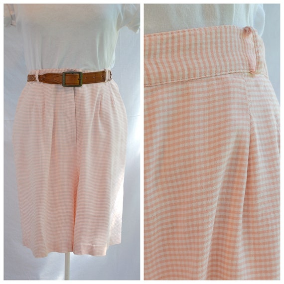 90's High Waist Mom Shorts - Mini Light Pink Check- Summer Lightweight Soft Woven Cotton Long Shorts - Aus 14 - US 10