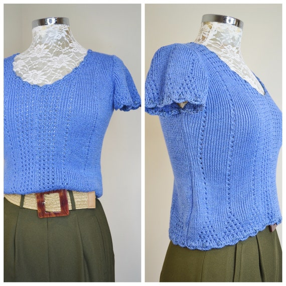 Adorable Cornflower Blue Metallic Hand Knit Summer Sweater. Gorgeous Scalloped Edges & Cable Knit Details. 1970's Vintage - XS