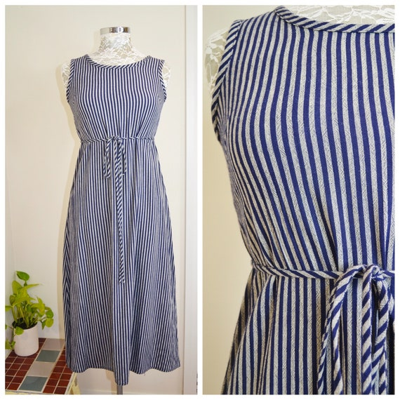 90's Preppy Barefoot Maxi Dress in Navy Blue Stripe, Heavy Rayon Linen by South CHina Sea - Long Straight Shift Empire Waist - XS AUS 8