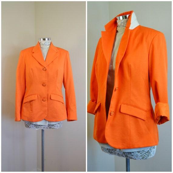 Tangerine Gabardine 90's Preppy Vintage Blazer in Brightest Orange Crush. Vintage Sophistication Tailored Designer Quality, Small, Medium
