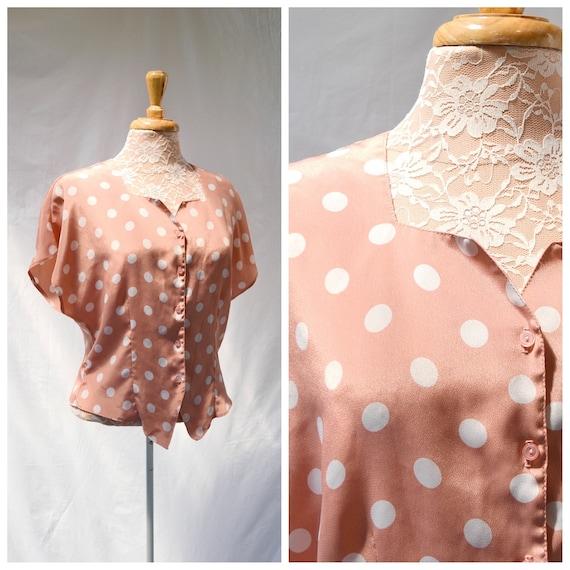 90's Polka Dots Sweetheart Silky Satin Summer Blouse -Peach, Blush & White -  Hourglass Shape - Made in Australia - MED - AUS 12