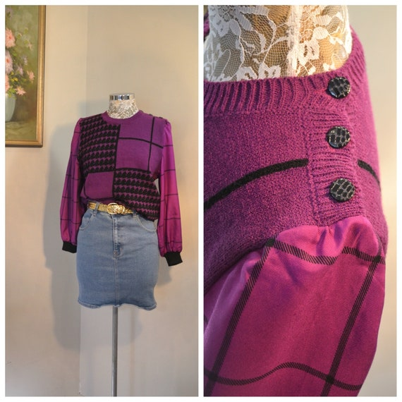 1980's Avant Garde - Vibrant Violet & Black Plaid Geometric Pullover Fancy Sweater w/ Satin Sleeves - Made in Hong Kong - Small