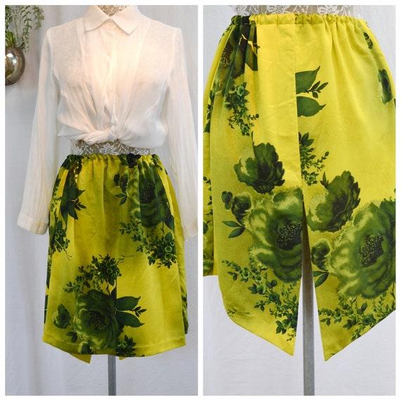 Handmade Vintage Chartreuse Floral Asymmetrical Hem - Elastic Waist 1970's - One Size
