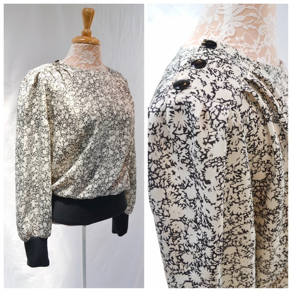 Vintage Silky Casual Blouse - Stretch Knit Cuffs & Waist -Button Pleated Shoulders - Black White Mini Floral - 1970's 9-5 Secretary - Small