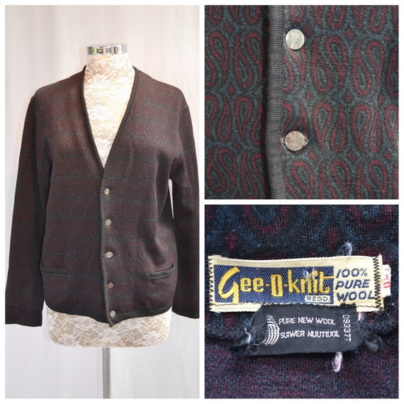 Mister Rogers 1950's Cardigan - Pure Wool - Black Burgundy Paisley - Hipster Teacher Rockabilly - Men's Small, Women's Med