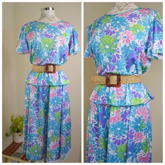 Flower Power 1960's Mod Party Dress - Turquoise Blue Purple Green - Handmade Vintage Summer House Dress - Medium - Large AUS 14