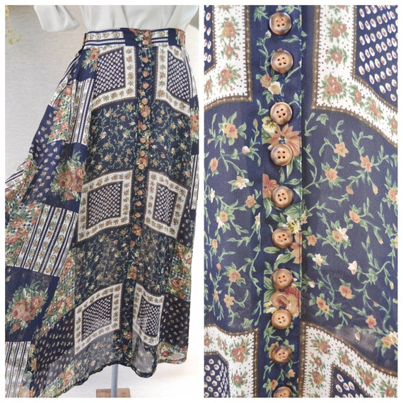 Cottage Country Floral Maxi Skirt - Roses on Navy Blue Button Up Full Skirt - Hippie Mom Summer Boho - Elastic Waist - Small AUS 10 - 12
