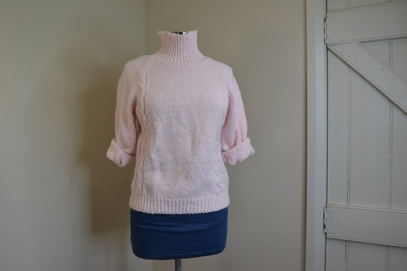 Cotton Hand Knit Soft Cotton Cuddly Turtleneck Sweater - Light Baby Pink Cable-knit Pullover Jumper - Small