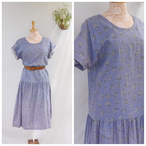 Vintage Handmade Cotton Drop Waist Country Shift Dress.  80's Faded Periwinkle Blues - Med