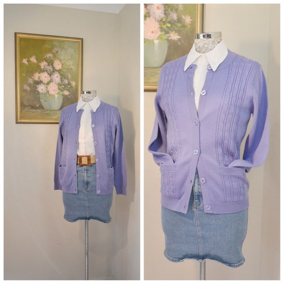 70's MOD Granny Cardigan in Periwinkle - Cable Knit Pattern, Front Pockets, Wool Blend - Small, Med