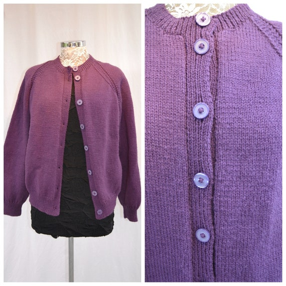 Vintage Hand Knit Eggplant Cardigan -Super Soft Baggy Granny 1960's - Cute Vintage Buttons - Violet Purple Magenta Wine- One Size