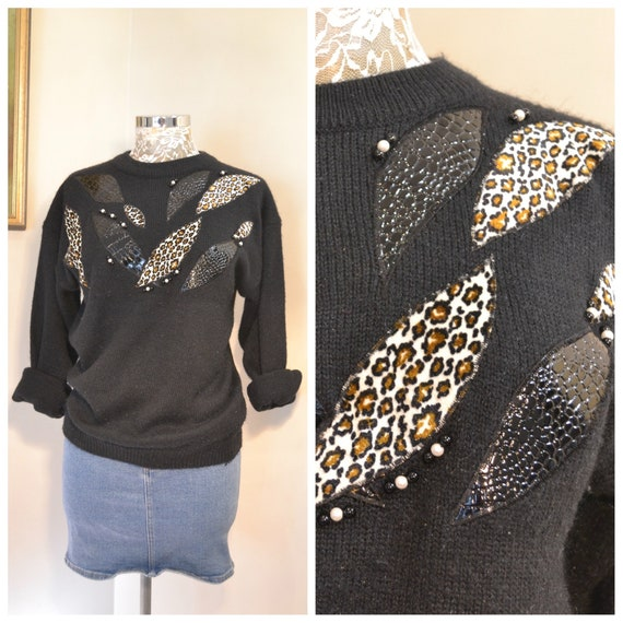 80's Black Knit Pullover Jumper w/ Pearl Beads & Animal Print Patchwork Detail - Small / Medium