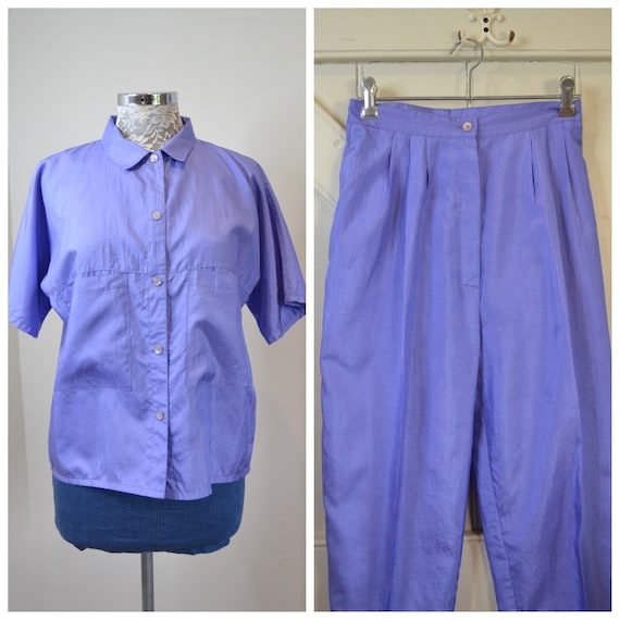 "80's Sporty 2 Piece Suit in Bright Lavender Purple - High Waist Pants & Matching Loose Fit Top - XS 24"" Waist - AUS 8"