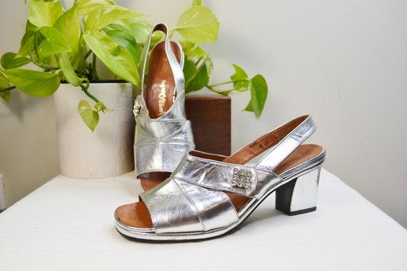 Jane Debster MOD Space Age Silver Strap Square Heels - Vintage 1960's Silver Leather & Rhinestones, Dressy Slingbacks - Sz 6