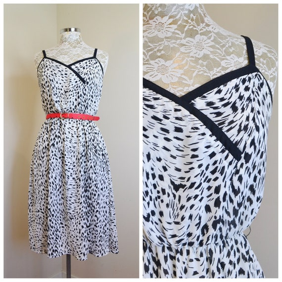 1970's Animal Print Lovely Disco Sundress in Black & White Leopard  - Sheer Chiffon, Elastic Waist, Sydney Designer ARC  - Small Med AUS 12