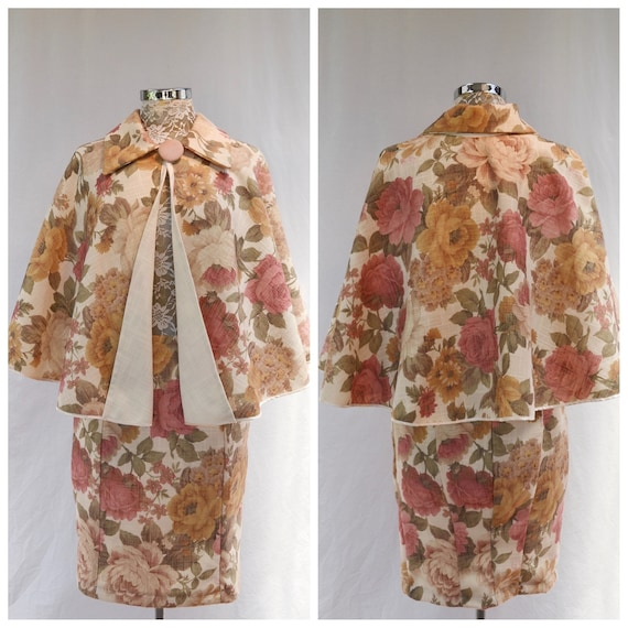 "Amazing Melbourne Cup* Cape & Pencil Skirt Combo - Vintage Roses Tapestry Print in Gold, Mauve and Olive - Cape One Size, Skirt 27"" Waist"