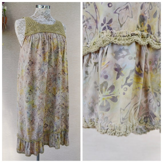 Bali Batik Summer Loose Earthy Tunic Dress w/ Crochet Top & Bottom Trim - Natural Earth Tones, 100% Viscose, Made in Bali - One Size