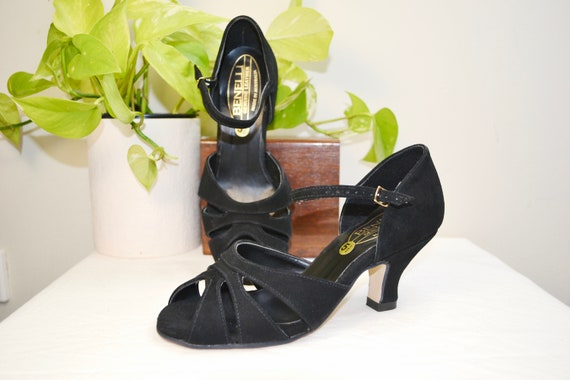 Pin Up Bombshell Heels in Black Suede by Benelli of Australia - Peep Toe Granny Witchy Victorian Pumps - Vintage 40's 50's Look - 5.5