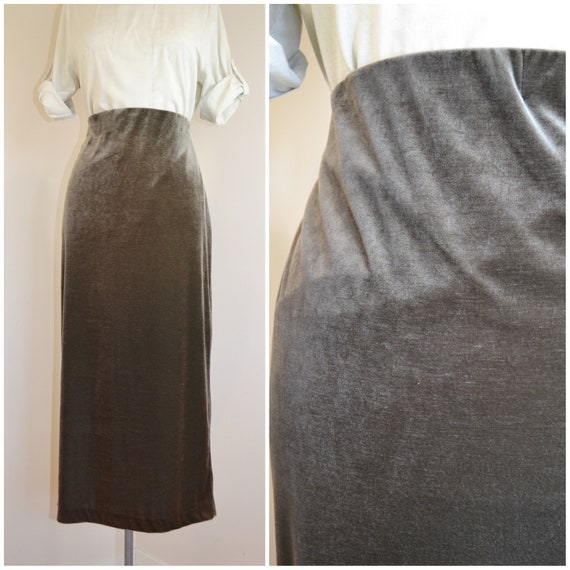"""Slinky Velvet Maxi Skirt in Mossy Grey, Dark Olive Green Luxurious Velvet. - 90's Vintage, Made in Australia. AUS 16 - US 14 - 34"""" Waist"""