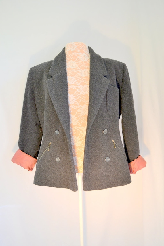 German Vintage ESPRIT* 90s Wool Double Breasted Boxy Jacket - Charcoal Grey, Salmon Satin Lining. Zipper Pockets, Tooo Cute - Medium